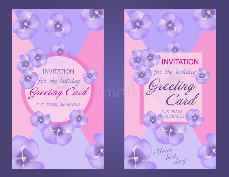 Decoratieve verticale groetkaart of uitnodigingsontwerp met purp stock illustratie