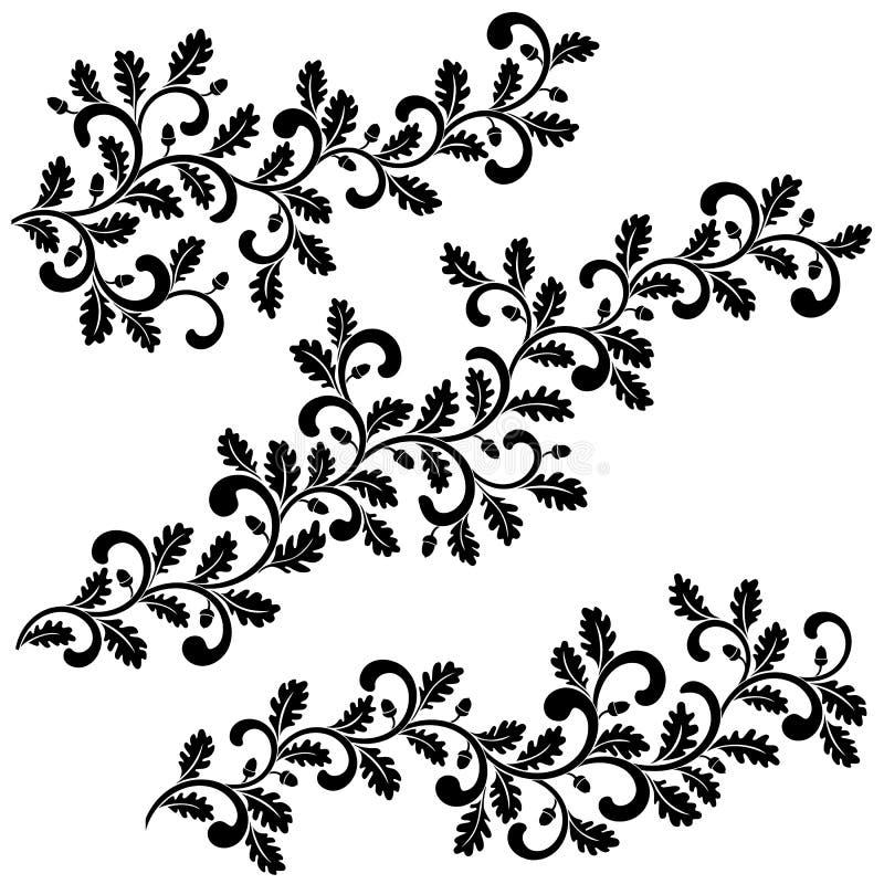 Decoratieve wervelende eiken die takken met bladeren en eikels op witte achtergrond worden geïsoleerd Ideaal voor stencil stock illustratie