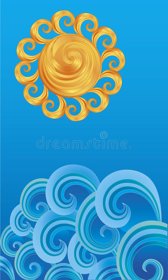 Decoratieve zon over de golven stock illustratie