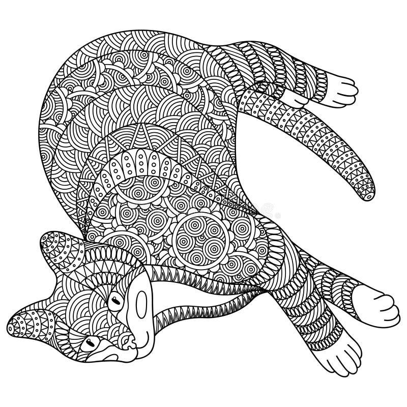 Decoratieve zwart-witte kat stock illustratie