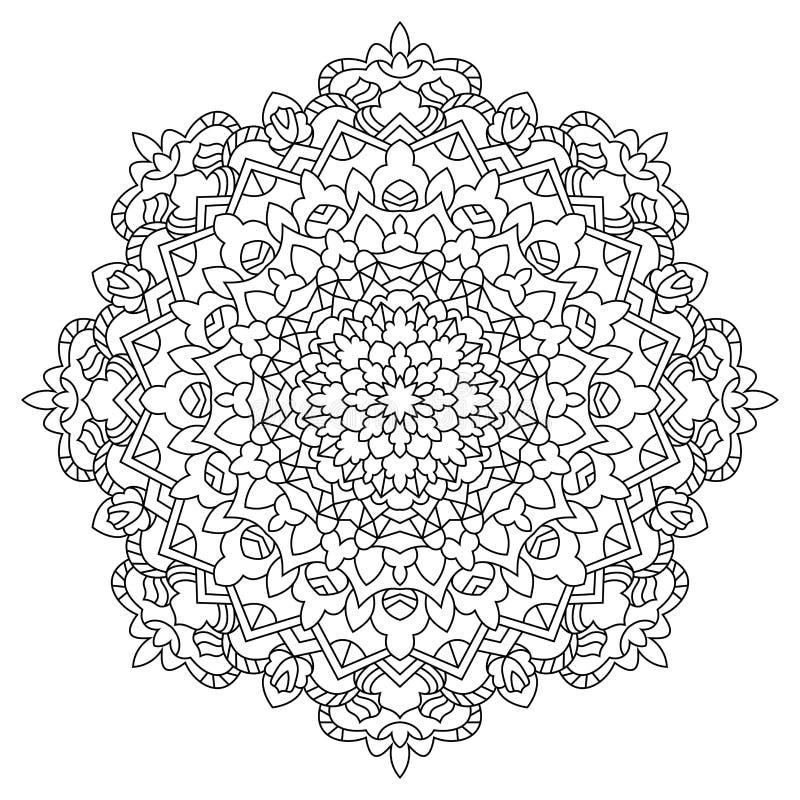Decoratieve zwart-witte mandalatekening royalty-vrije illustratie