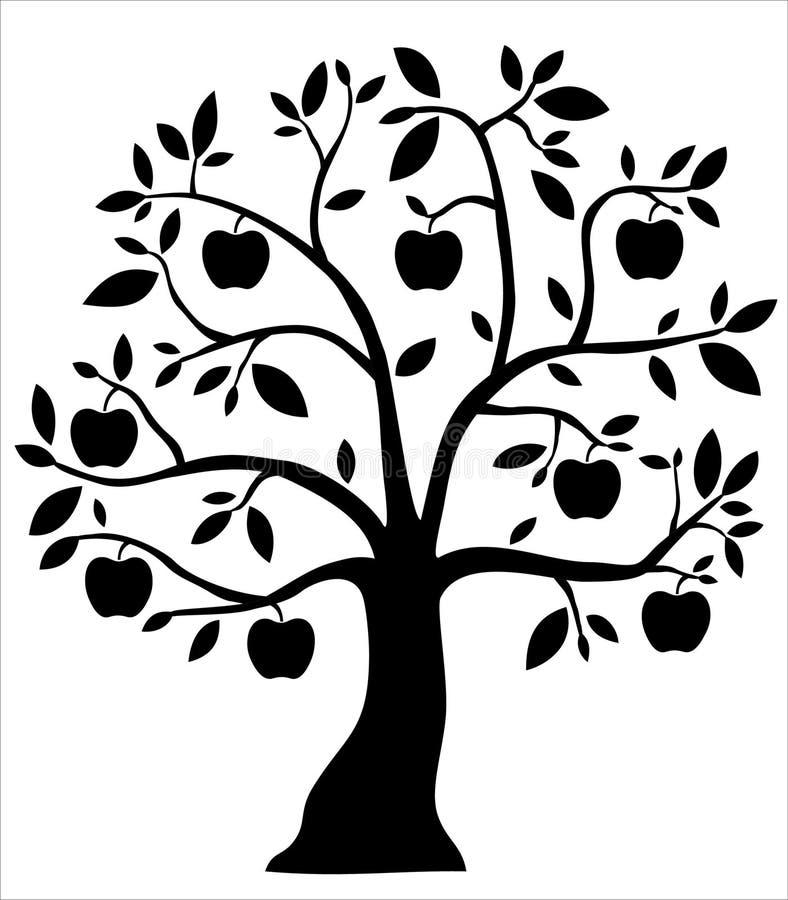 Decoratieve zwarte appelboom royalty-vrije illustratie
