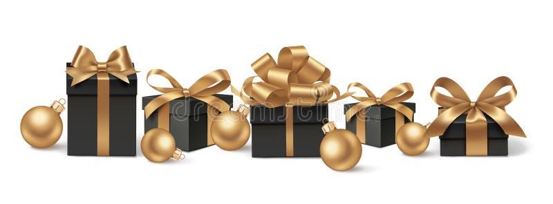 Decoratieve zwarte giftdozen en gouden ballen vector illustratie