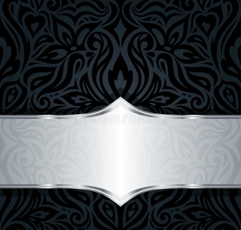 Decoratieve zwarte & zilveren bloemen uitstekende het patroonachtergrond van het luxebehang stock illustratie