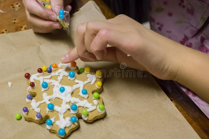 Decorating Christmas Gingerbread Cookie stock images