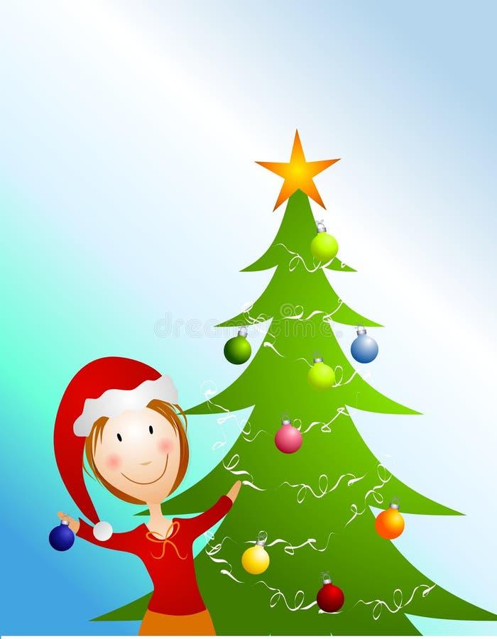 Decorating Christmas Tree. An illustration featuring a woman decorating a Christmas tree and smiling stock illustration