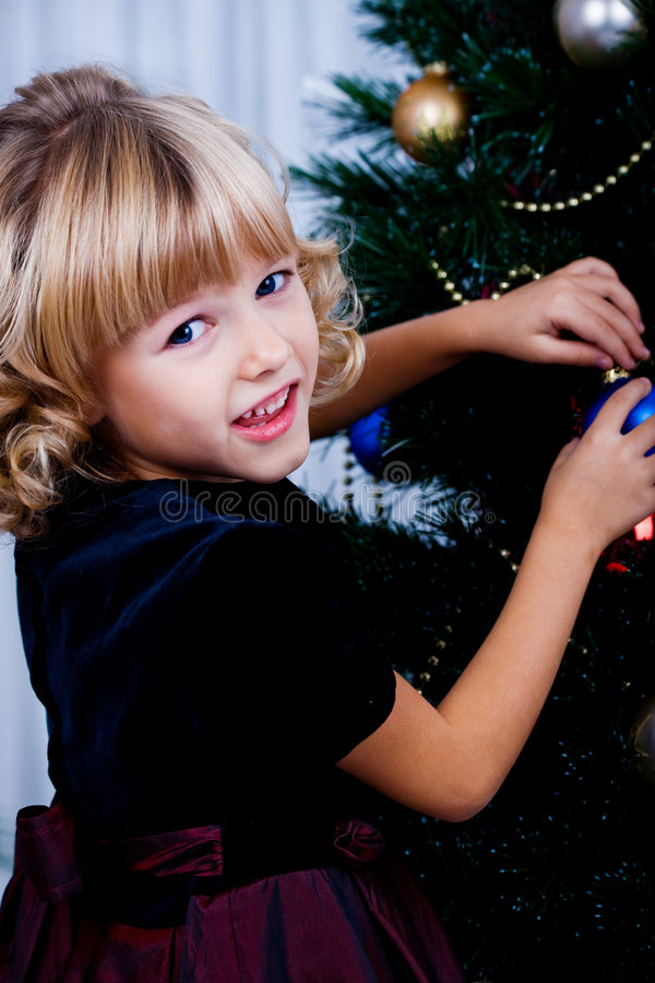Decorating of Christmas tree royalty free stock photos
