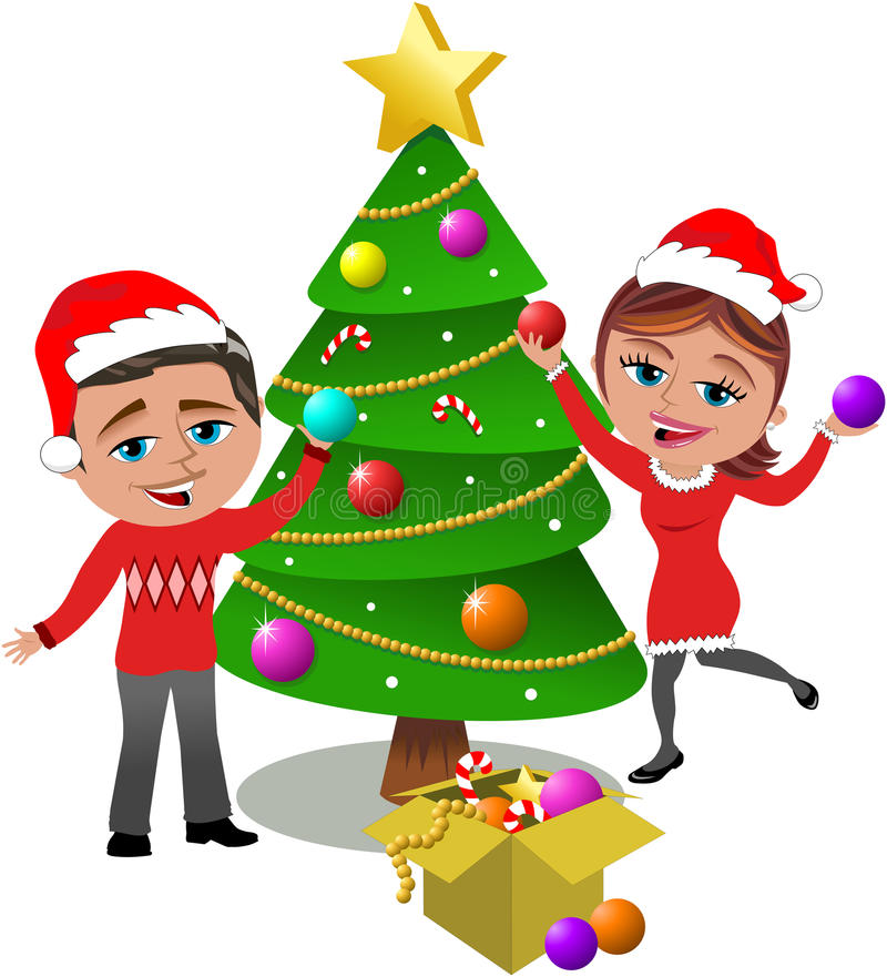 Decorating Christmas Tree. Illustration featuring Bob and Meg in xmas look decorating togheter christmas tree putting on xmas balls isolated on white background stock illustration