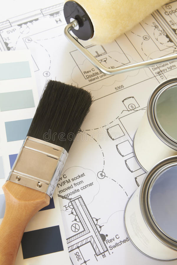 Download Decorating Components Arranged On House Plans Royalty Free Stock Image - Image: 27104866