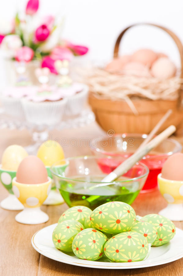 Decorating Easter Eggs royalty free stock image