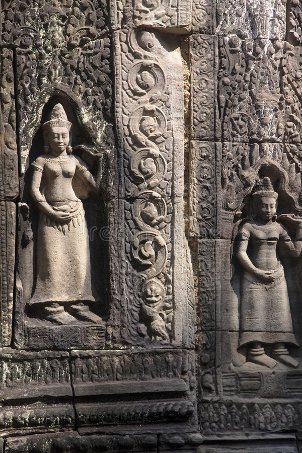 Decorating the walls of Khmer temple royalty free stock image