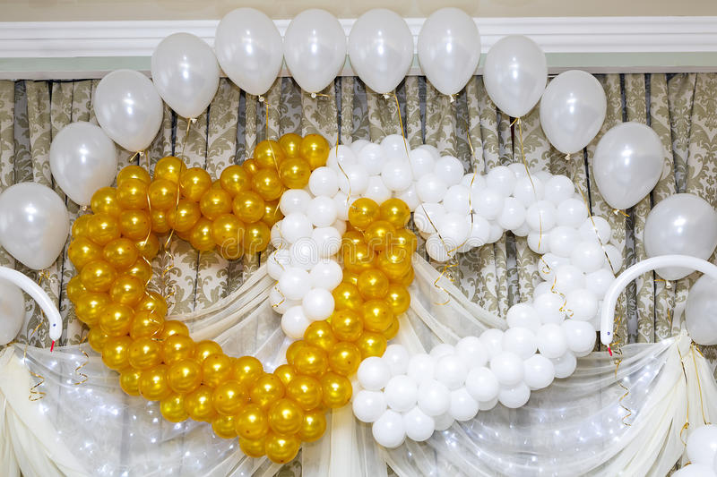 Decorating for the wedding of balloons in the shape of hearts stock photo