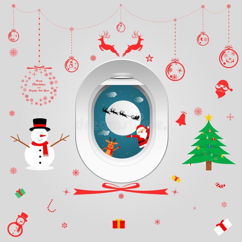 Decorating windows inside the plane in the Christmas season. Vector illustration graphic design of decorating windows inside the plane in the Christmas season vector illustration