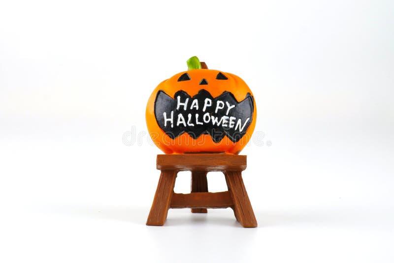 Decoration accessory jack lantern pumpkin Happy Halloween words on white background stock image