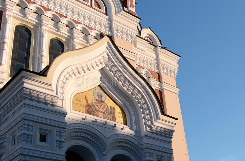 Decoration on Alexander Nevsky Cathedral in Tallinn, Estonia. Detail of the architecture of Alexander Nevsky Cathedral in Tallinn, Estonia, illuminated by the royalty free stock photo