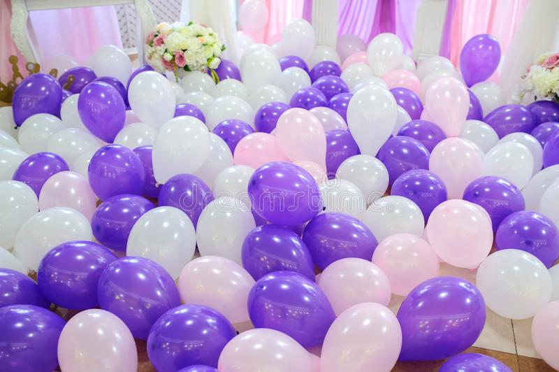 Decoration with balloons stock photos