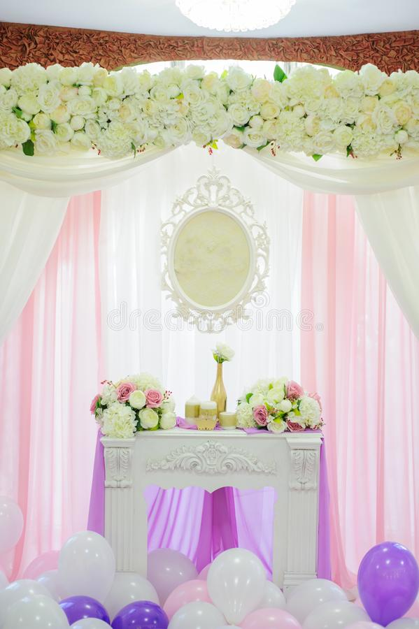 Decoration with balloons stock images