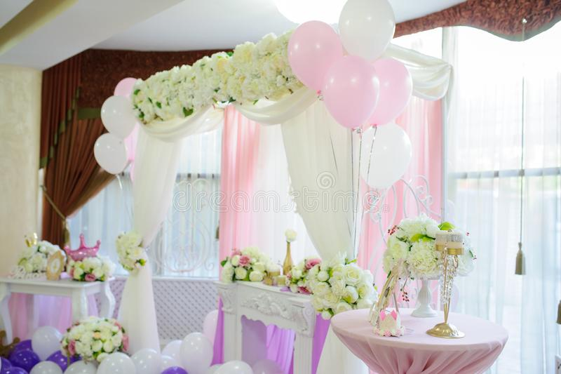 Decoration with balloons stock photography
