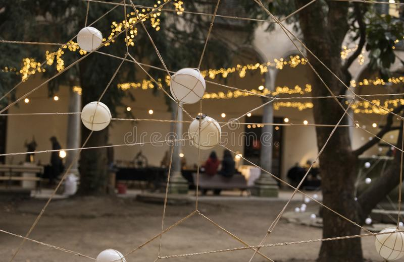 Decoration with balls. Balls tied with rope forming a decorative net royalty free stock photo