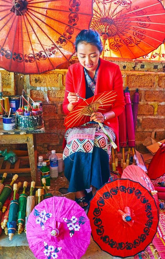 Decoration of Burmese umbrellas, Pindaya, Myanmar royalty free stock photos