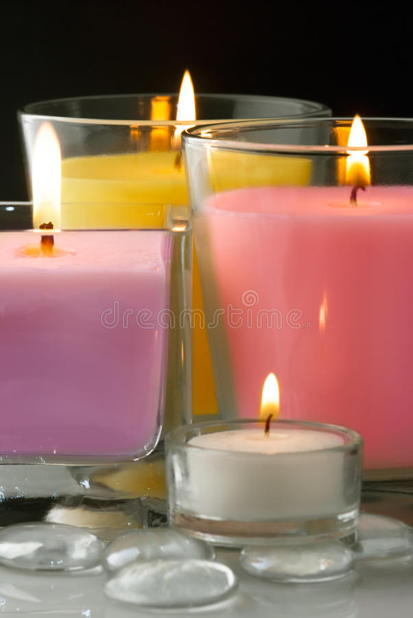 Decoration with candles stock images