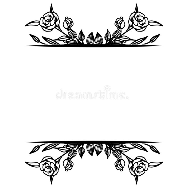 Decoration of card with feature elegant, various floral frame. Vector. Illustration royalty free illustration