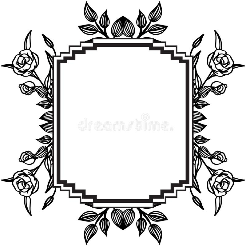 Decoration of card with feature elegant, various floral frame. Vector. Illustration stock illustration