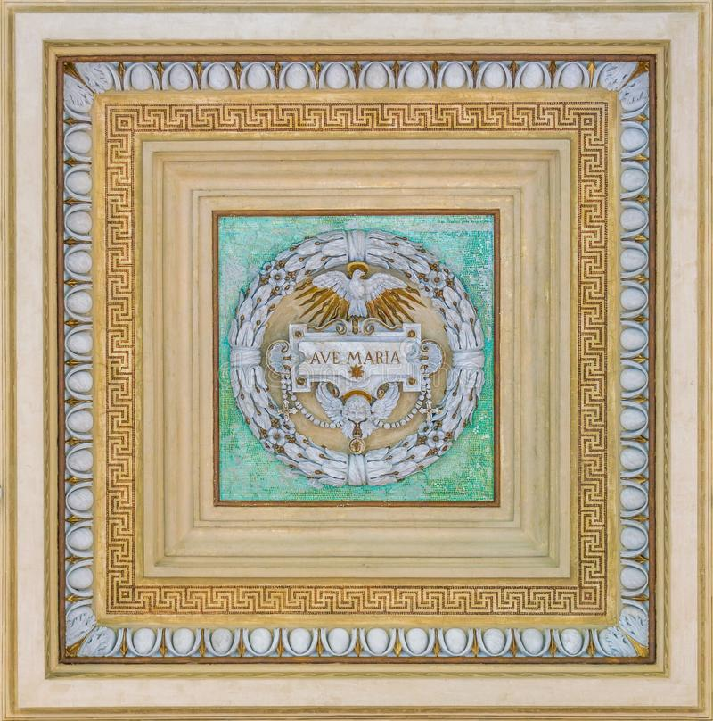 Decoration from the ceiling of the porch of the Basilica of Saint Paul Outside the Walls. Rome, Italy. The Papal Basilica of St. Paul Outside the Walls royalty free stock photography