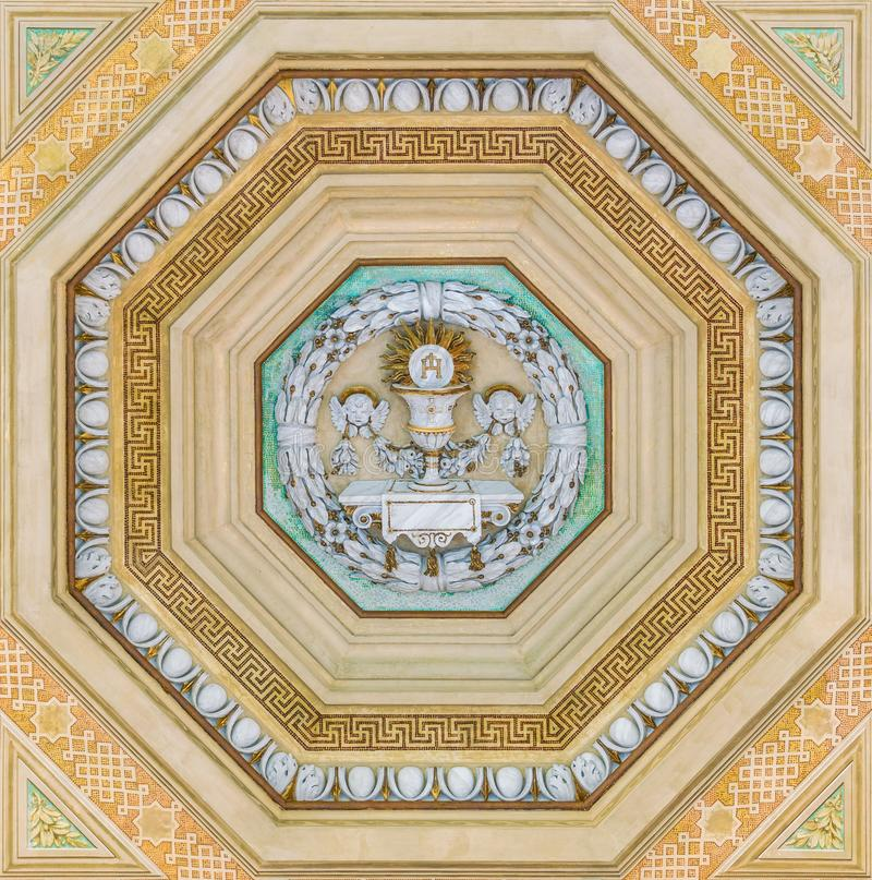 Decoration from the ceiling of the porch of the Basilica of Saint Paul Outside the Walls. Rome, Italy. The Papal Basilica of St. Paul Outside the Walls stock photography
