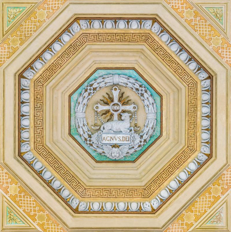 Decoration from the ceiling of the porch of the Basilica of Saint Paul Outside the Walls. Rome, Italy. The Papal Basilica of St. Paul Outside the Walls royalty free stock photos
