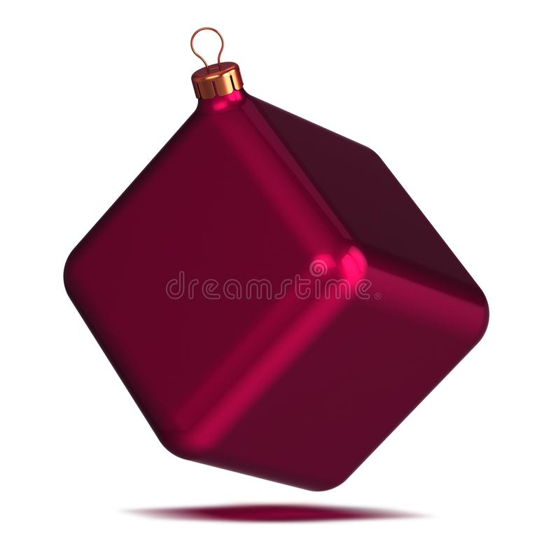 Decoration Christmas ball as cube red New Year`s Eve souvenir block stock photography