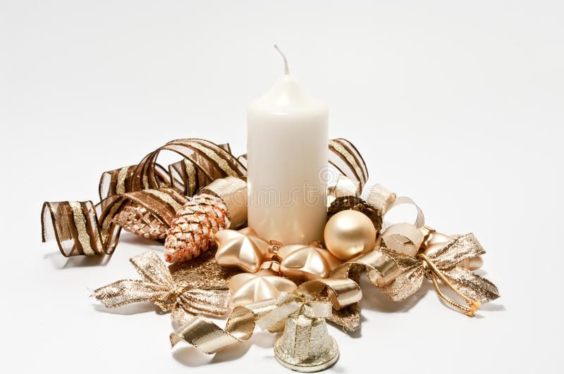 Decoration for christmas in brown and gold royalty free stock photography