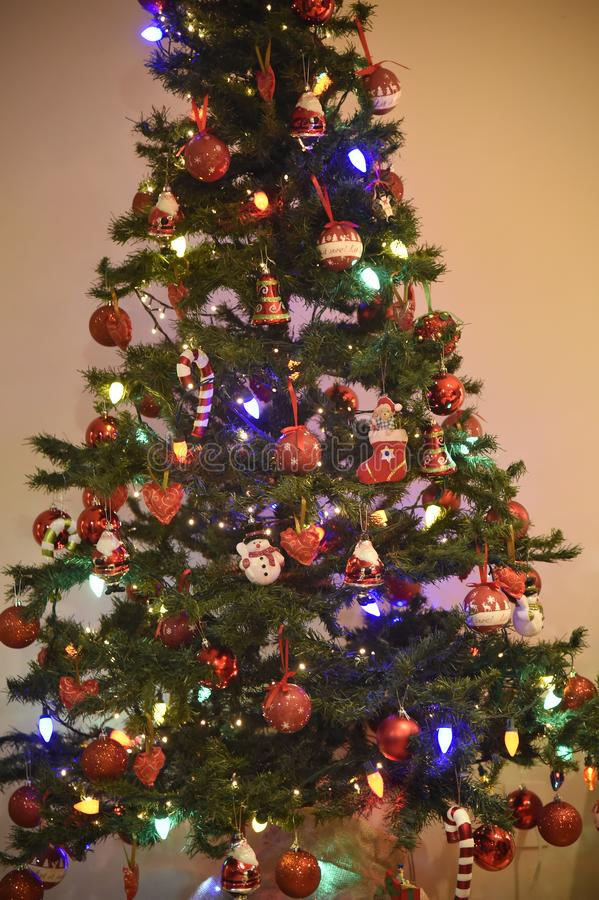 Decoration of Christmas tree. Rio de Janeiro - Brazil, decoration of Christmas tree with deliberate blur, to give effect royalty free stock images