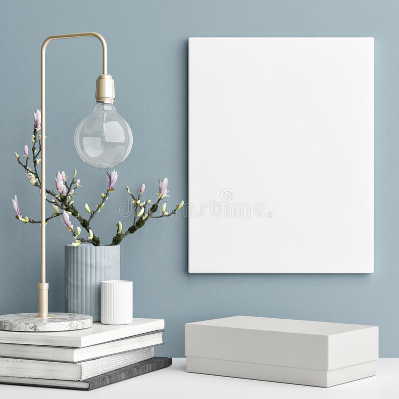 Decoration concept interior, mock up poster on blue wall royalty free illustration