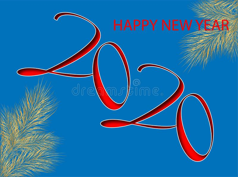 2020 for decoration design. Vector 2020 christmas illustration. 2020 calendar, invitation. Happy new year card design. Flyer, vector illustration