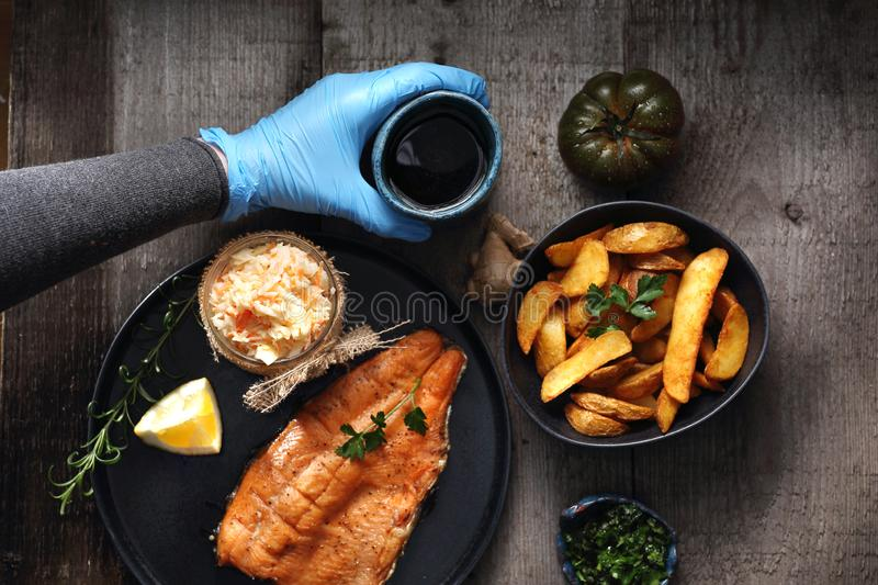 Decoration of dishes. Food styling stock photos