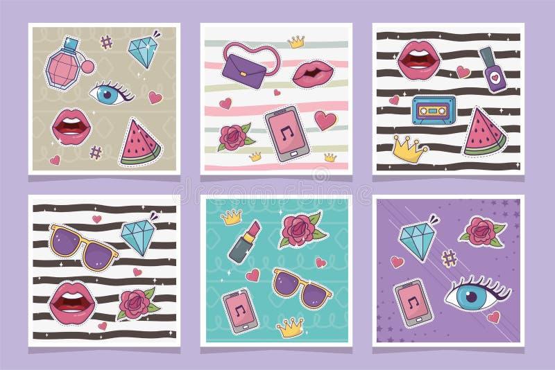Decoration fashion patches banner set style. Vector illustration vector illustration