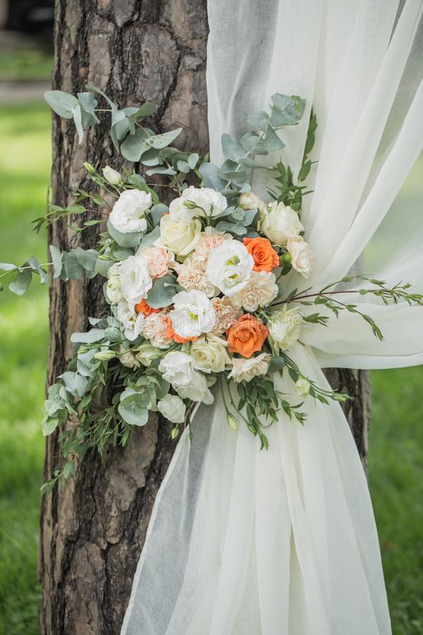 Decoration of flowers and fabrics of a wedding arch stock image download decoration of flowers and fabrics of a wedding arch stock image image of blue junglespirit