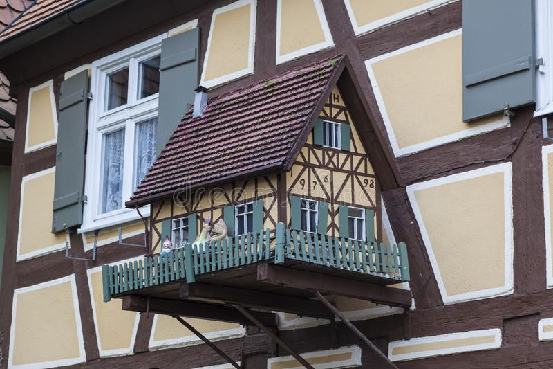 Decoration in the form of a house on the wall of the house in Dinkelsbuhl. Bavaria, stock photo