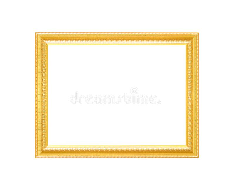 Decoration gorgeous metal gold picture frame with carving flower patterns isolated on white background with clipping path royalty free stock images