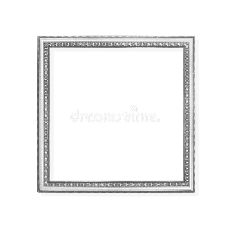 Decoration gray or silver metal picture frame with carving patterns isolated on white background with clipping path royalty free stock photos