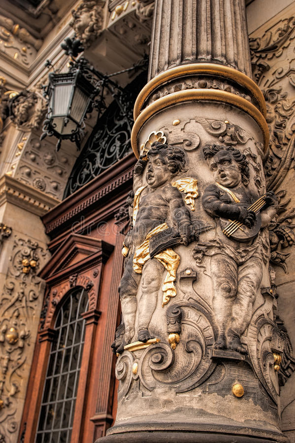 Decoration of Guild House, Bremen. Bass-relief on the column foundation of the Schütting, a Guild House for traders, merchants and tradesmen in Bremen royalty free stock photos