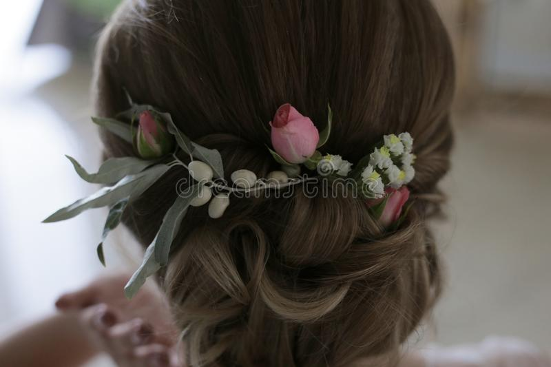 Decoration in the hair of a woman from small pink roses, small white flowers and fruits Elaeagnus commutata. Wedding, wedding preparations, Decoration in the royalty free stock image