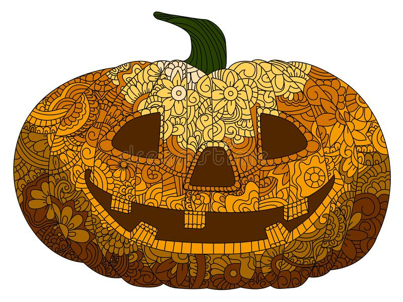 Decoration and holidays concept. Antistress coloring book for adults. Colored in orange shades. Pumpkin head, halloween. Painted with patterns, flowers vector illustration