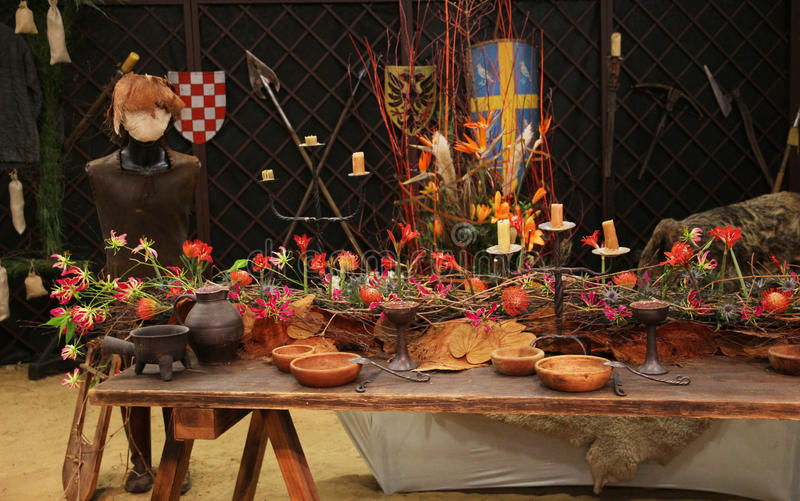 Decoration medieval feast in the castle stock image - Decoration moyen age ...
