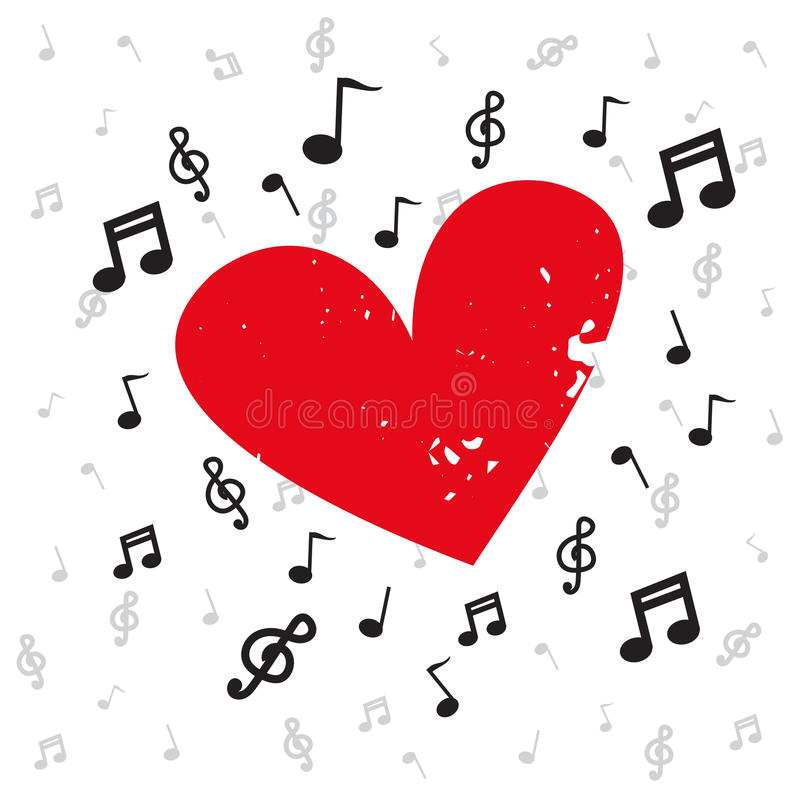 Decoration of musical notes with red heart grunge and background music stock illustration