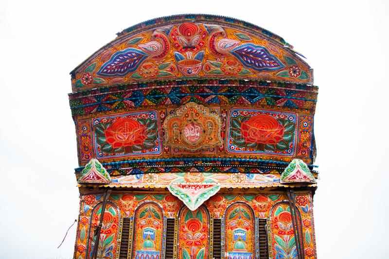 front side of a Colorful pakistani truck stock photography