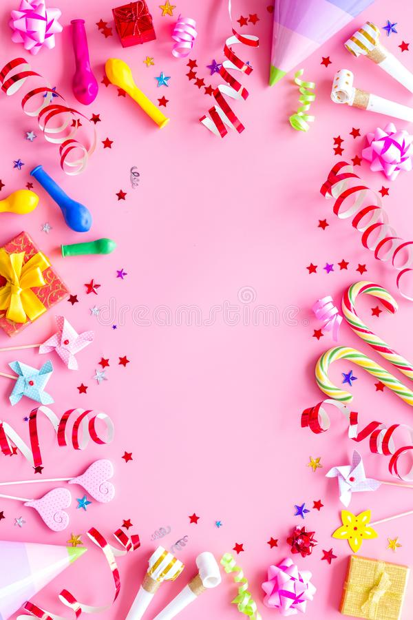 Decoration for party frame on pink background top view mockup. Birthday celebration. Decoration for party frame on pink background top view mockup stock photography
