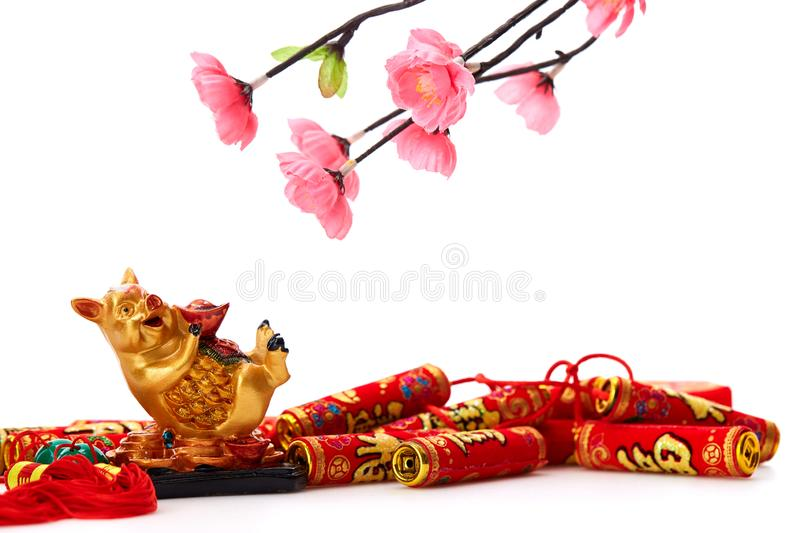 Decorate Pig 2019 Lunar New Year. Decoration Pig 2019 Lunar New Year and Chinese New Year on white background, Empty space for design royalty free stock images