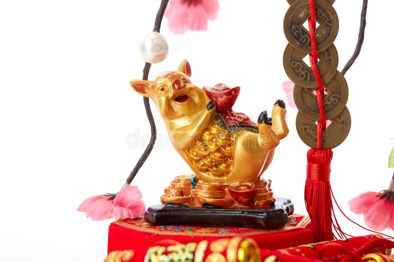 Decorate Pig 2019 Lunar New Year. Decoration Pig 2019 Lunar New Year and Chinese New Year on white background, Empty space for design royalty free stock photography